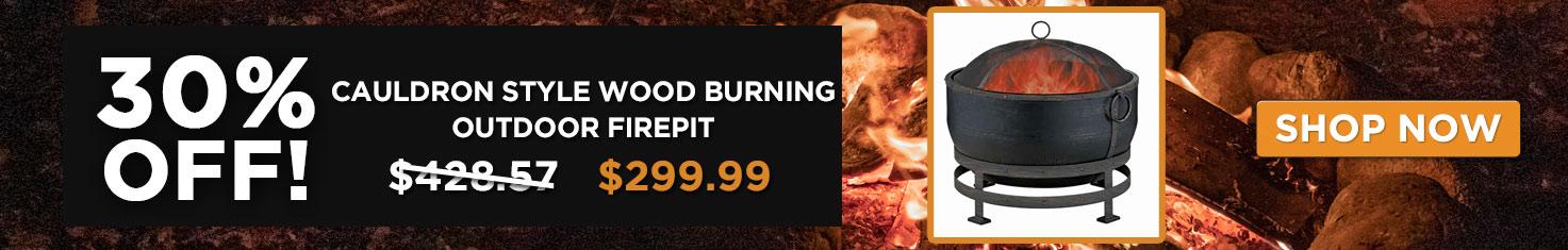 30% off Cauldron Style Wood Burning Outdoor Firepit