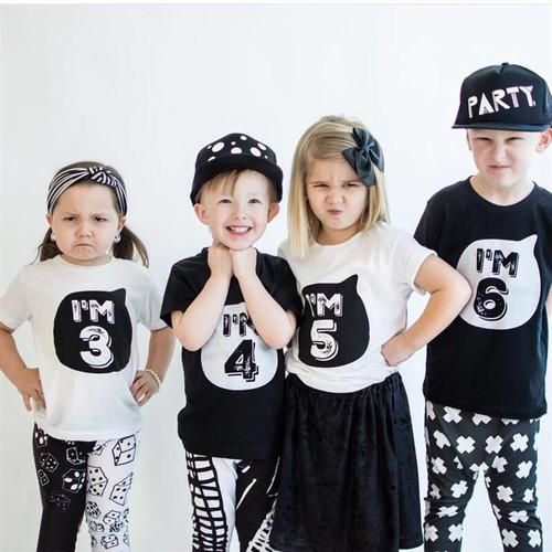 Children Summer Short Sleeve T-Shirt Kids White/Black