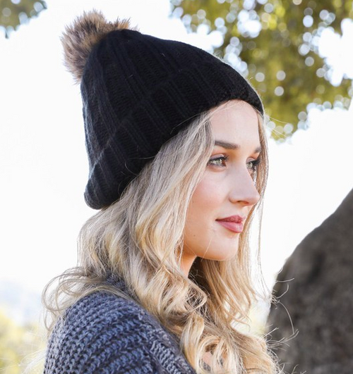 Black Faux Fur Ribbed Beanie