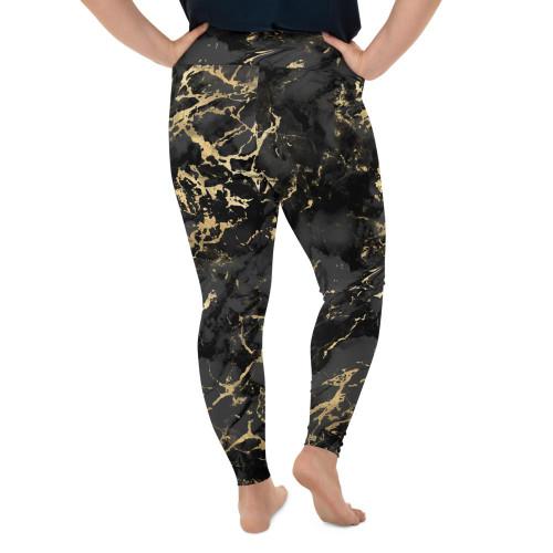 Plus Size Black Gold Marble Leggings