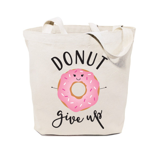 Donut Give Up Cotton Canvas Tote Bag
