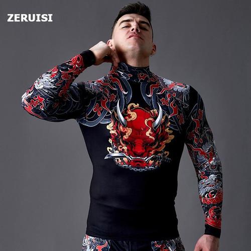 Compression Top High collar Shirt Men's Long Sleeve