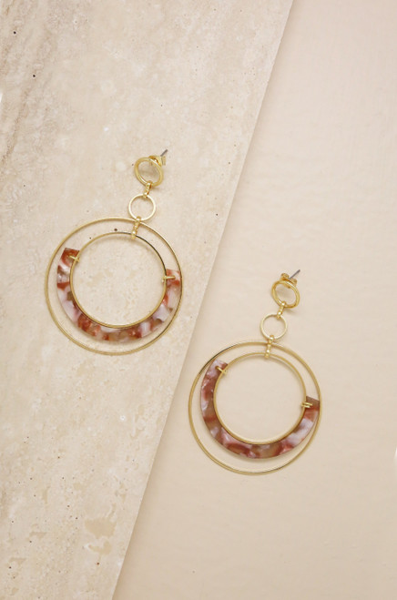 Neptune's Moon Blush Resin Hoop 18k Gold Plated Earrings