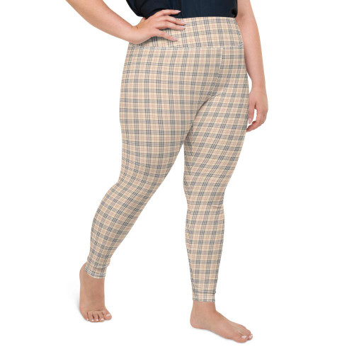 Beige Plaid Plus Size Leggings