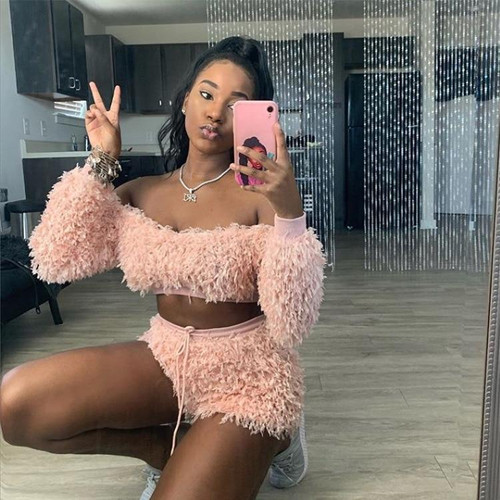 2pc Set Sexy Off Shoulder Backless Crop Top Shorts 2pc