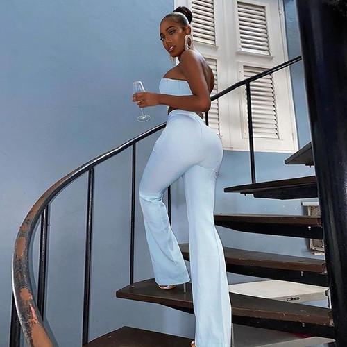 Elegant Flare Pants Set Bustier High Waist - Lt Blue