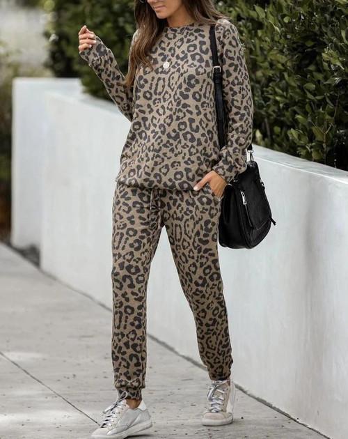 Leopard Printed Long Sleeve Tops & Pants 2pc