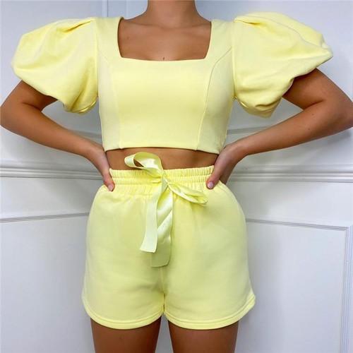 Women's Loungewear Set Square Collar Short Puff Sleeve/Shorts