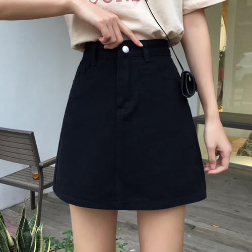 A Line Women's Denim Solid Pockets Skirt