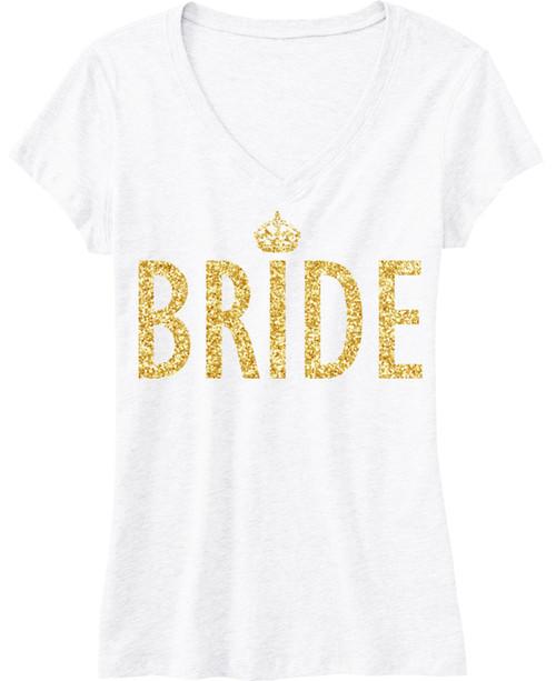 BRIDE Gold GLITTER SHIRT White V-neck