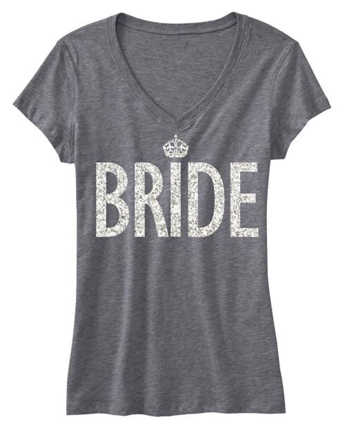 BRIDE GLITTER SHIRT Gray V-neck