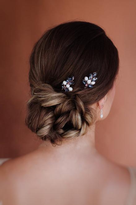 Black crystal Rhinestone wedding hair pins 2pc