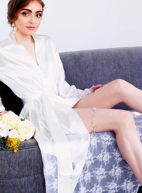 Rose gold pearl leaf garter Blush garter