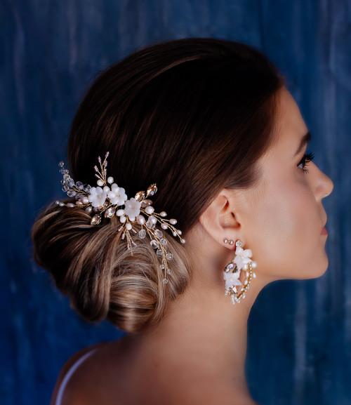 Blush floral bridal hair comb
