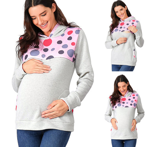 Maternity Hoodie Winter Women's Clothing Dot