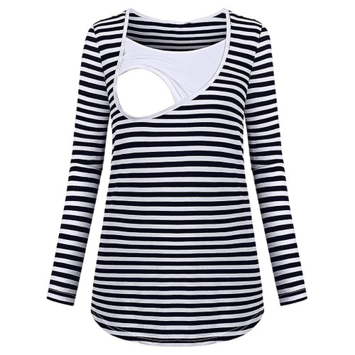 Autumn Maternity Nursing Tops Stripe Maternity