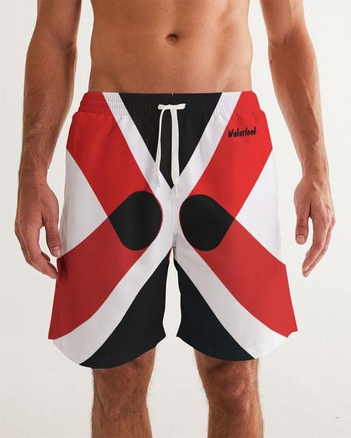 Wakerlook Red & Black Men's Swim Trunks