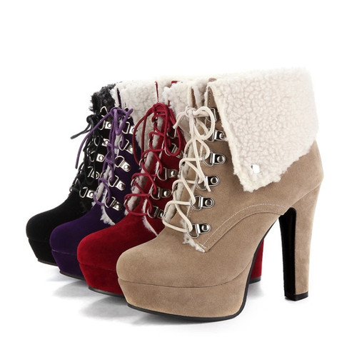 High Heels Ankle Boots Fashion Chunky Heel