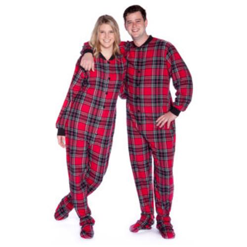 Adult Footed Onesie Pajamas Red Black Plaid