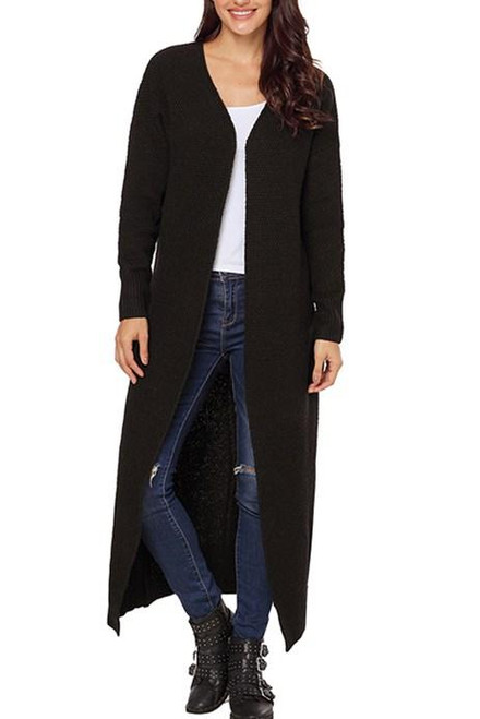 Black Open Front Pockets Knit Long Cardigans