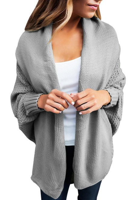 Chic Grey Chunky Knit Open Front Dolman Cardigan