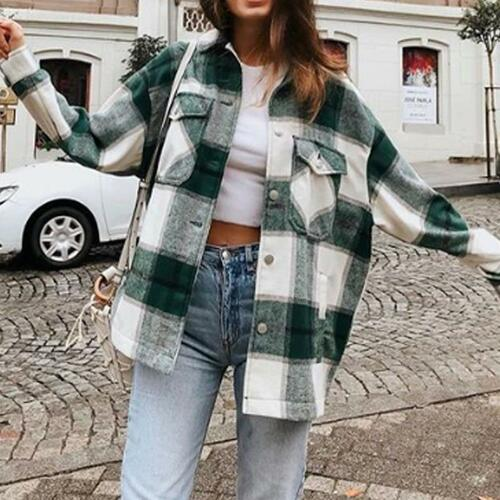 Plaid Oversize Jackets Loose Causal Checker Streetwear