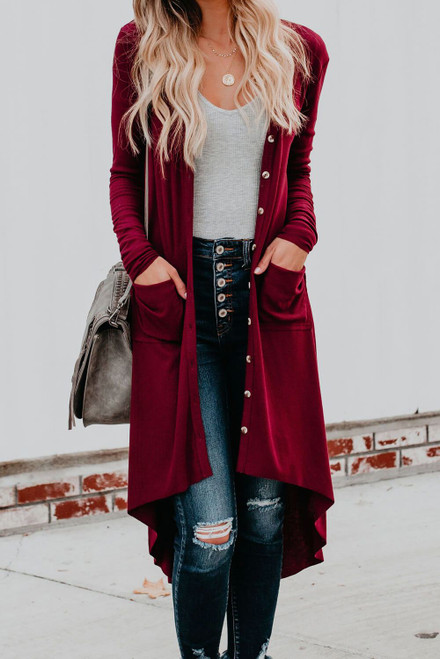 Burgundy Selected Button Down Pocketed Knit Long Cardigan
