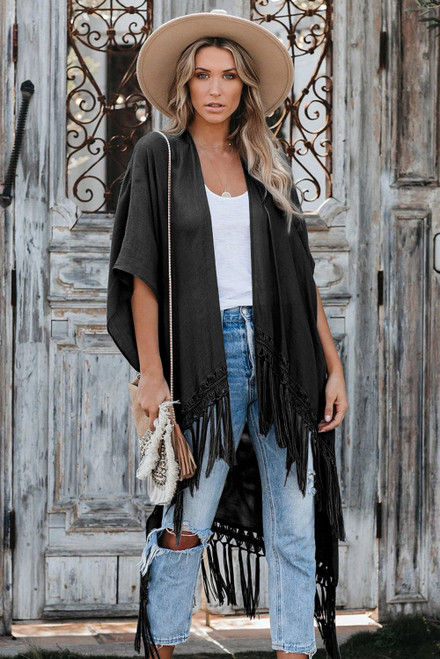 Black Travel The World Tassel Oversize Kimono