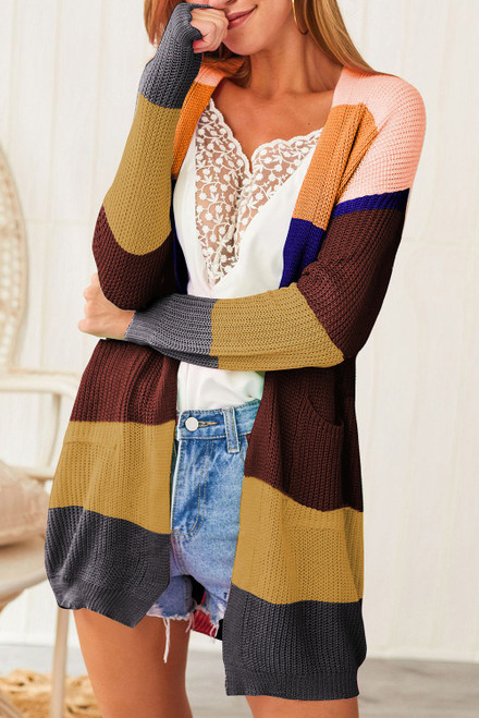 Brown Color Block Open Front Drape Knitted Cardigan