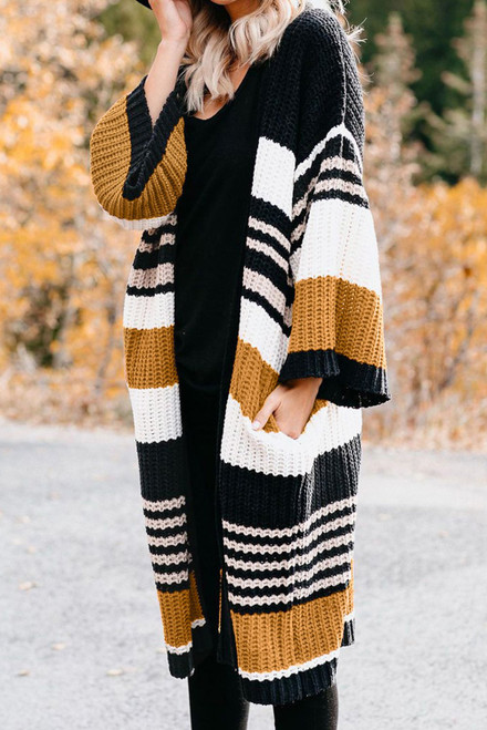 Brown Pocketed Novelty Striped Chenille Long Cardigan