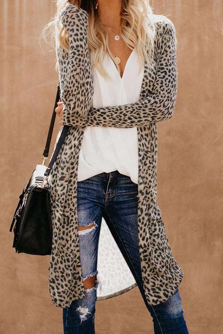 Fashion Leopard Print Long Cardigan