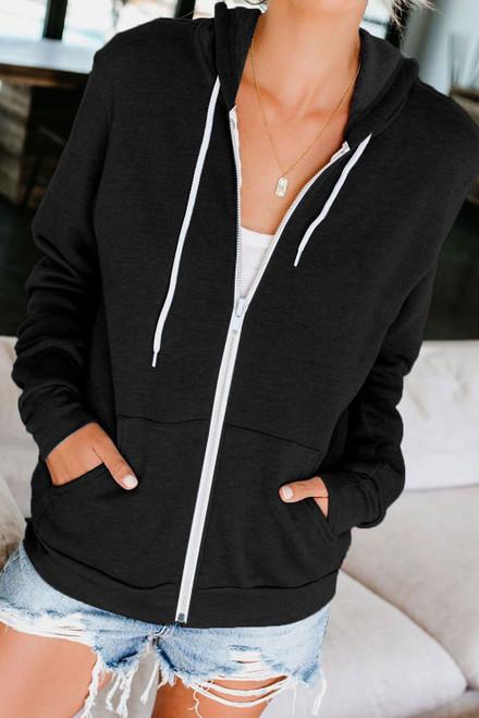 Casual Black Zip-up Hoodie Jacket - Black