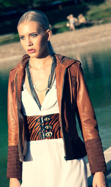 Arya Brown Suede Leather Women's Hooded Jacket