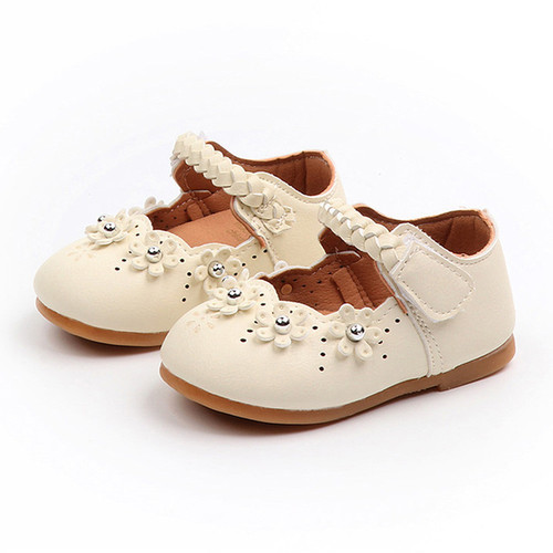 Baby Girl's Shoes Toddler flower unique - Tan
