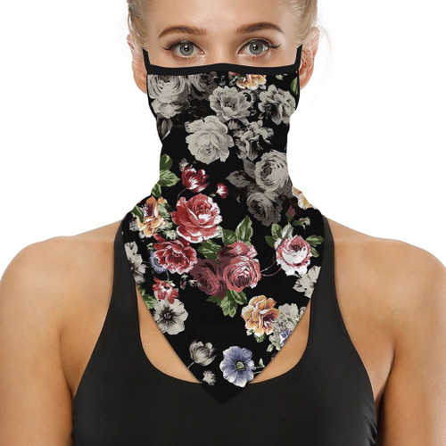 Floral Print Hiking Scarves Face Cover Scarf Neck Protection