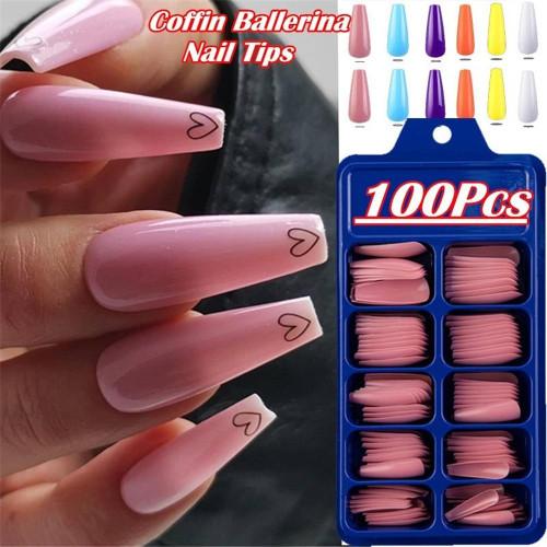100pc Fashion Matte False Nail Tip Nature Full Cover Nail Art