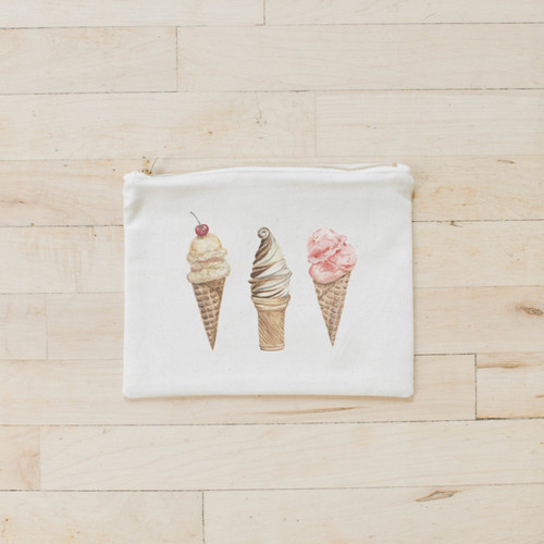 Ice Cream Watercolor Cosmetic Bag