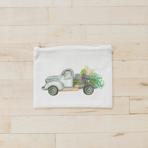Floral Truck Watercolor Cosmetic Bag