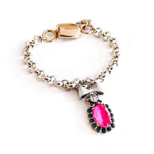 Chain & Link Bracelet with hot pink & black Jet