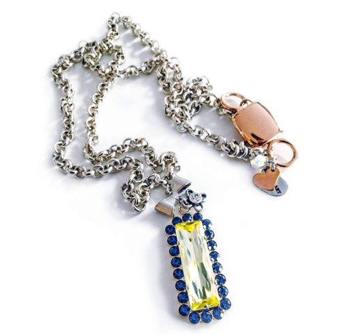 Yellow & Blue crystal Necklace with Silver Plated Brass