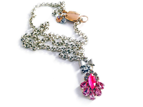 Hot pink Crystal Necklace with Silver Plated Brass