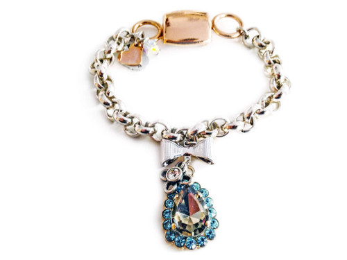 Chain & Link Bracelet with Light Blue Swarovski Crystals