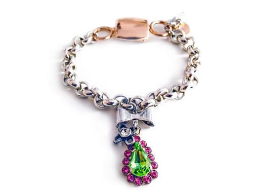 Chain & Link Bracelet with Pink & Green Swarovski Crystals