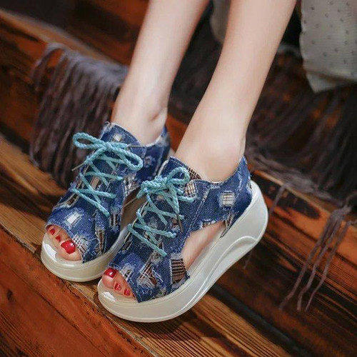 Student sandals Korean Edition fish mouth shoes Denim