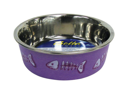 Bella Purple Fish Bones Stainless Steel 1 cups Pet Bowl