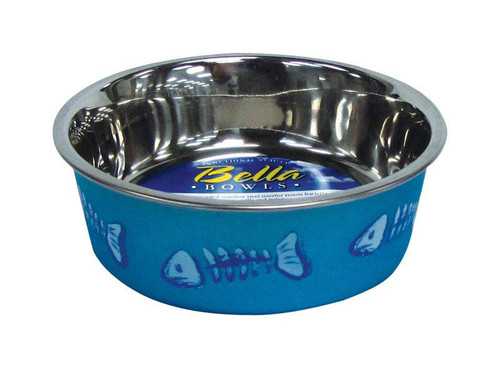 Bella Blue Fish Bones Stainless Steel 1 cups Pet Bowl