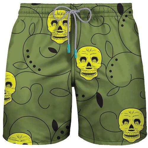 "Mid Length Swim ""DA SCULL"" Army Green Shorts"