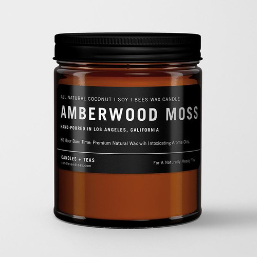 Naturally Calming Aroma Candle: Amberwood Moss in Coconut Soy Wax