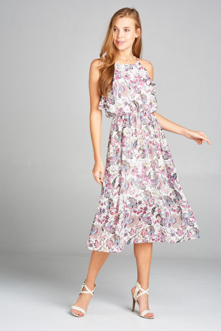 Floral Print Ruffled Top Dress