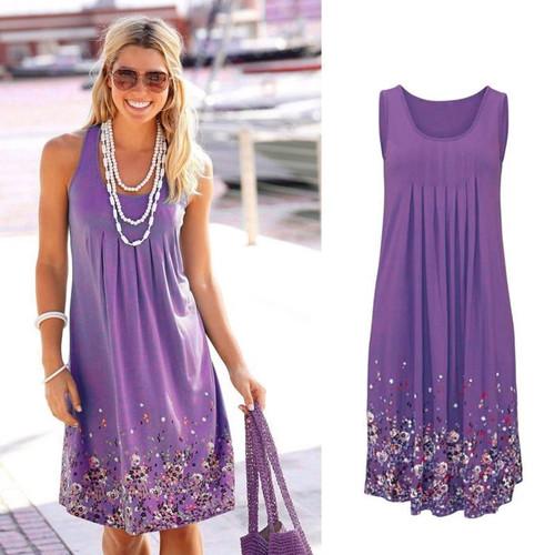 Sleeveless Floral Print Loose Summer Dress Purple